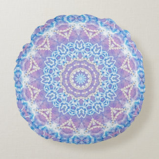 Lilac Blue Bohemian Dreamis Round Cushion Round Pillow