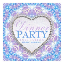 Lilac Blue Bohemian Glow Dinner Party Invitations