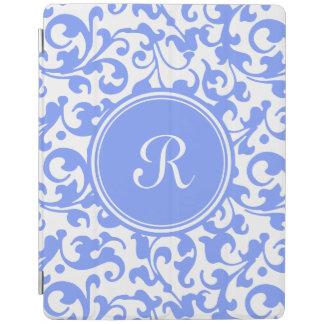 Lilac Blue Elegant Damask Swirls Monogrammed iPad Cover