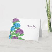 Lilac & Blue Hydrangeas Spring Wedding Thank You Greeting Cards