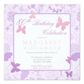 Lilac Boho Butterfly Floral 80th Birthday Party Card