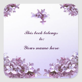 Lilac Bookplate Square Sticker
