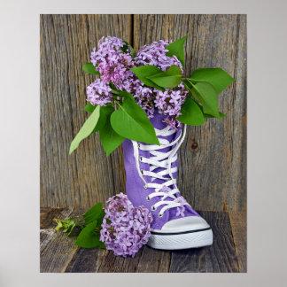 Lilac bouquet in purple sneaker poster