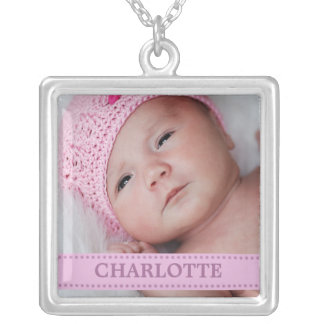 Lilac Boutique Personalized Baby Photo Silver Plated Necklace