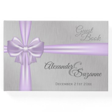 Bride Themed Lilac Bow and Ribbon Silver Wedding Guest Book