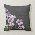 Lilac Branches Watercolor Flowers Burlap Look Pillow