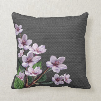 Lilac Branches Watercolor Flowers Burlap Look Throw Pillow