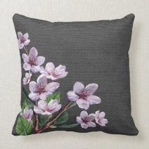 Lilac Branches Watercolor Flowers Burlap Pillow