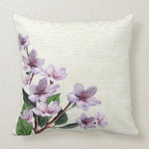 Lilac Branches Watercolor Flowers Burlap Pillows