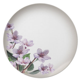 Lilac Branches Watercolor Flowers Plate