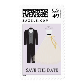 LILAC BRIDE AND GROOM | SAVE THE DATE POSTAGE