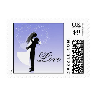 Lilac Bride And Groom Silhouette Love Postage