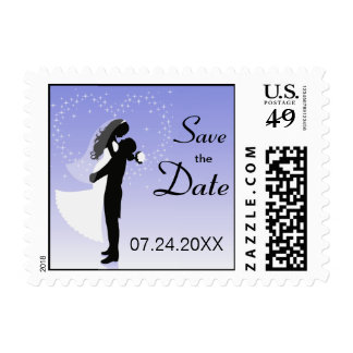 Lilac Bride And Groom Silhouette Save The Date Postage Stamp