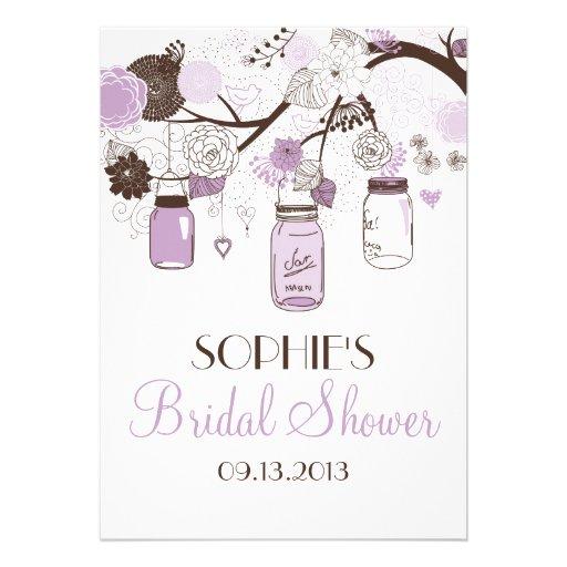 Lilac & Brown Mason Jars Bridal Shower Invitation