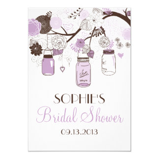Lilac & Brown Mason Jars Bridal Shower Invitation