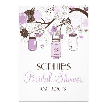 Valentines Themed Lilac & Brown Mason Jars Bridal Shower Invitation