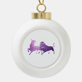 Lilac Bullfight 2 Tee PNG Ceramic Ball Christmas Ornament