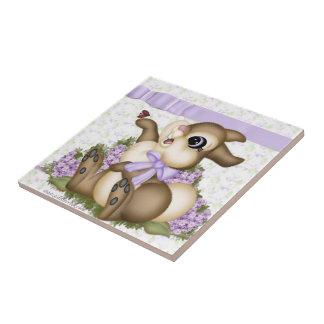 Lilac Bunny Ceramic Tile