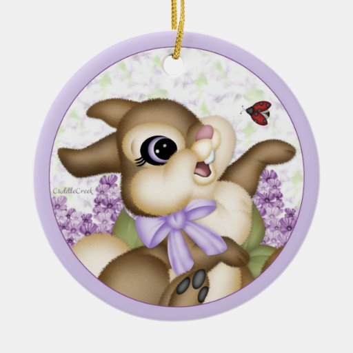 Lilac Bunny Ornament Gift Tag
