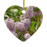 Lilac Bush Beautiful Purple Spring Flowers Double-Sided Heart Ceramic Christmas Ornament