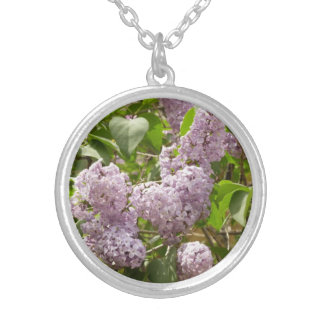 Lilac Bush Beautiful Purple Spring Flowers Silver Plated Necklace