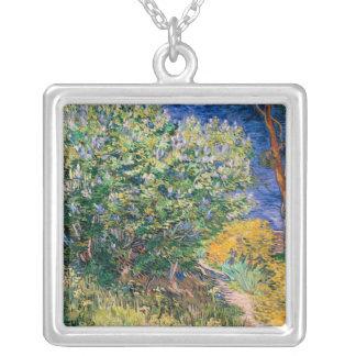 Lilac Bush – Lilacs, Vincent Van Gogh Square Pendant Necklace