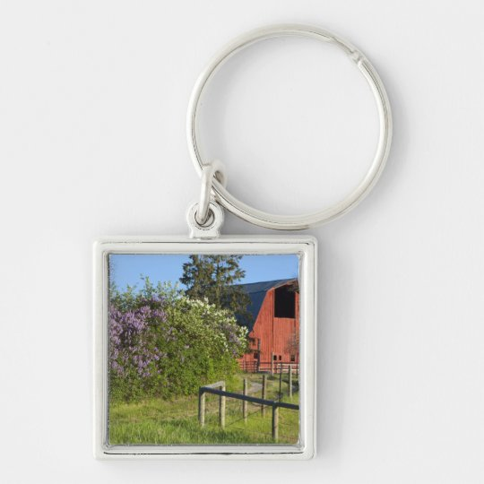 Lilac bushes in bloom and magpies in the trees keychain