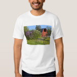 Lilac bushes in bloom and magpies in the trees tshirt