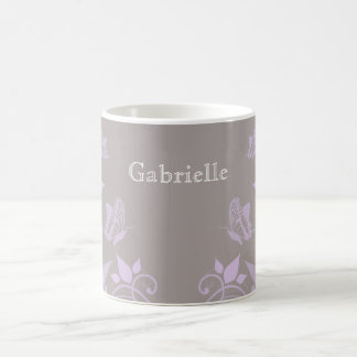 Lilac Butterfly Floral Mug