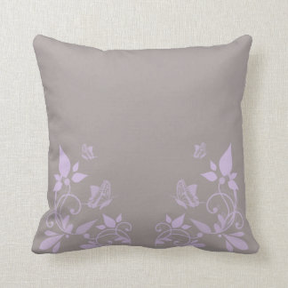 Lilac Butterfly Floral Pillow