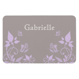 Lilac Butterfly Floral Premium Magnet