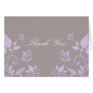 Lilac Butterfly Floral Thank You Card
