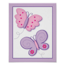 Lilac Butterfly Flower Nursery Wall Art Print