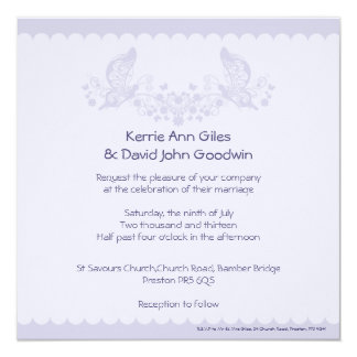 Lilac Butterfly Frill Wedding Invitation
