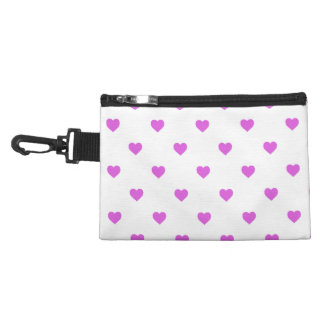 Lilac Candy Polkadot Hearts on White Accessory Bags