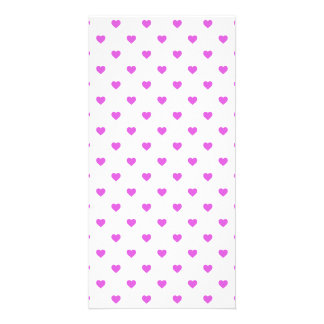 Lilac Candy Polkadot Hearts on White Photo Card
