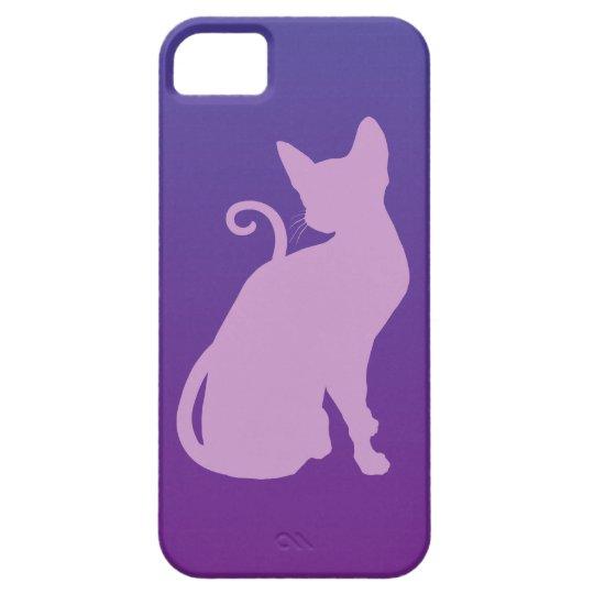 Lilac Cat on Purple iPhone SE/5/5s Case
