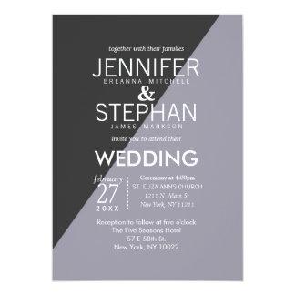 Lilac Charcoal Gray Two Tone Wedding Invitations