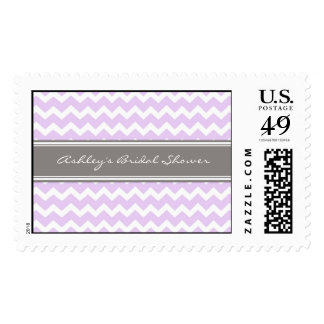 Lilac Chevron Bridal Shower Wedding Stamps