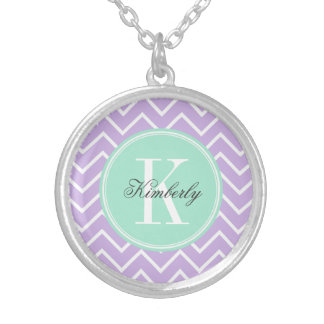 Lilac Chevron with Mint Monogram Silver Plated Necklace