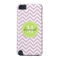 Lilac Chevron Zigzag Personalized Monogram iPod Touch 5G Cover