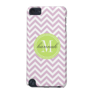 Lilac Chevron Zigzag Personalized Monogram iPod Touch (5th Generation) Covers
