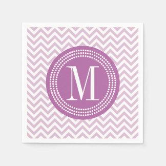 Lilac Chevron Zigzag Personalized Monogram Paper Napkins
