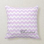 Lilac Chevrons Pattern Monogram Pillow