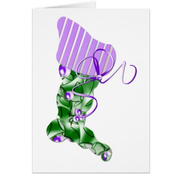 Christmas Themed Lilac Christmas Stocking Card