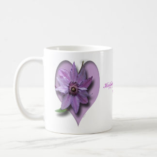 Lilac Clematis and Heart Coffee Mug
