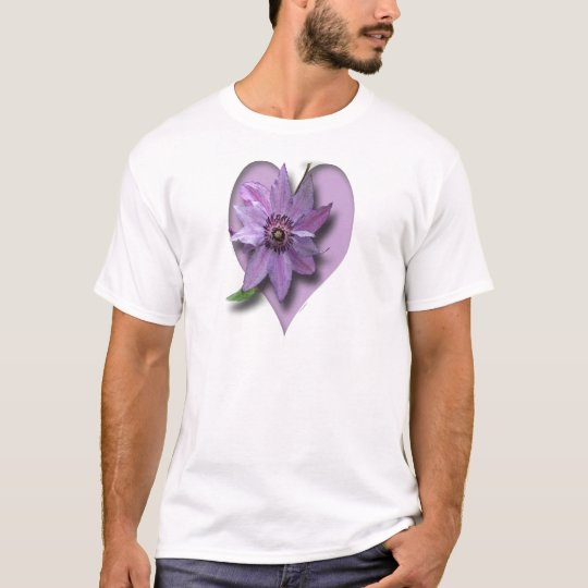 Lilac Clematis and Heart T-Shirt