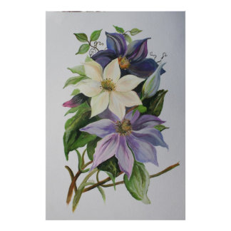 Lilac Clematis Posters