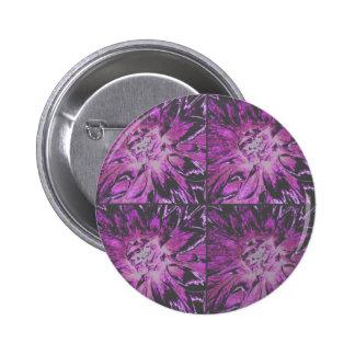 Lilac Collage Dahlia Flower Pattern Button