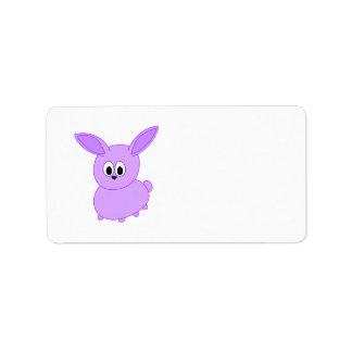 Lilac color bunny. address label
